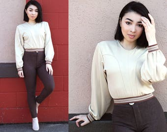 Retro Cream Cropped Puff Sleeve Pullover XS S M L XL XXL