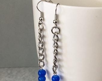 Blue earrings, blue dangle earrings, blue drop earrings, blue beaded earrings