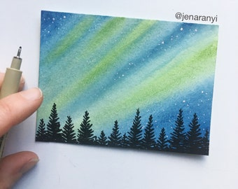 Watercolor Galaxy Painting, Northern Lights, Aurora Borealis, Watercolor Starry Sky, Watercolor Night Sky Painting, Stars Home Decor, Forest