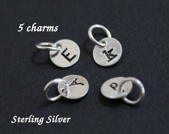 "Tiny sterling silver initial charms - 1/4"" (6.4mm) - personalized charms - 5 charms"