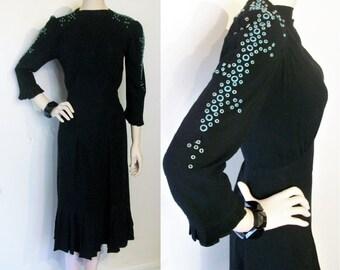 "Amazing 1940s rayon crepe dress w/aqua bubbles riveted trim  bust 34""/35"""