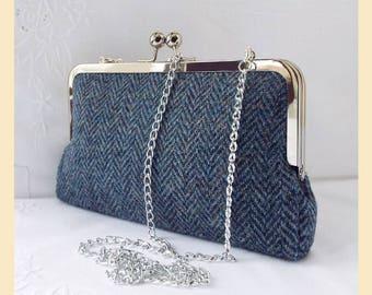 shoulder bag, Harris Tweed, black and grey herringbone, Harris Tweed bag, tweed purse, tweed clutch bag, Harris Tweed handbag