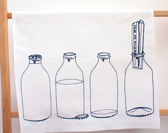 Milk Bottle Print Tea Towel