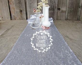SUPER SALE!! Silver Sequin Table Runner ~ Bulk Order ~ 12 x 108 Inches ~ Wedding Decor ~ Wedding Table Runner ~ Spring Wedding ~ Metallic