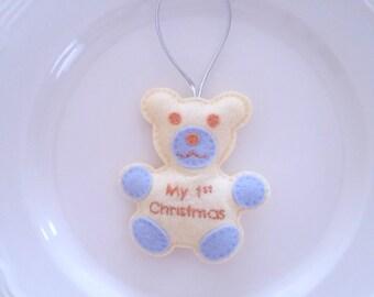 Baby Teddy Bear Personalized First Christmas Felt Christmas Handmade Ornament