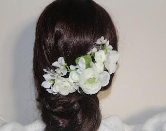 comb white bridal flower, wedding, romantic headpiece fascinator