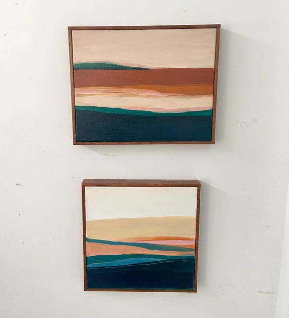 Set of 2 - Modern Abstract Original Seascapes for Gallery Wall