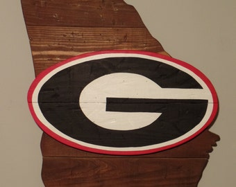 Reclaimed Wood State of Georgia with UGA Logo