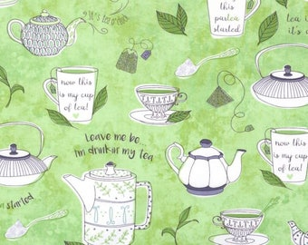 SALE ~By the Yard ~ Tea Talk Green Tea Color, Tea-RRIFIC Collection designed by Alicia Jacobs for Quilting Treasures, Quilting Cotton Fabric