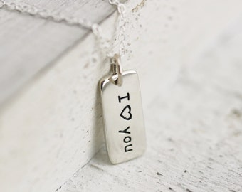 I Heart You Necklace - Sterling Silver I Heart You Charm Necklace - I Love You Necklace - I Heart You Tag Gift for Girl Friend Romantic Gift