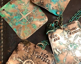 Etched Compass Copper necklace. Patina. Hand made.