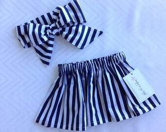 Baby Skirt, Toddler Skirt, Baby Girl Outfit, Skirt, Bow Headwrap, Baby Headwrap, Hair Bow, Headwrap, Big Bow, Navy blue & white skirt