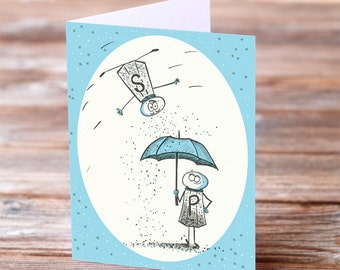 Salt and Pepper Shakers Valentines Day Anniversary Wedding Greeting Card