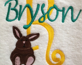 BATH TOWEL  Bunny Rabbit Stacked Name Personalized Towel