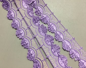 Vintage Ribbon with Scalloped Edge, Purple and White, made in France, 5/8 inches wide, Price is per Yard