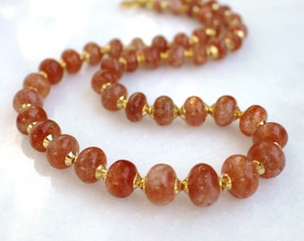 Radiant Sunstone, 22kg Vermeil, Byzantine Inspired Fine Gemstone Necklace...