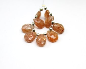 Sunstone faceted pear briolette 11.5x8-9.5x8.5 mm , sold by set of 9 briolette, natural sunstone pear briolette, sunstone faceted:- M714