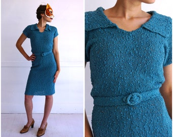 Vintage 40's Turquoise Nubby Hand-Knit Sheath Dress with Belt | Small
