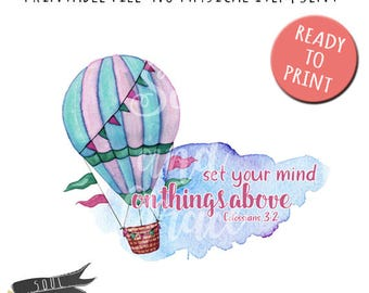 Set your mind on things above- INSTANT DOWNLOAD - PDF Printable - Retro - Junk