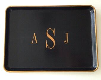 L gold monogram black tray