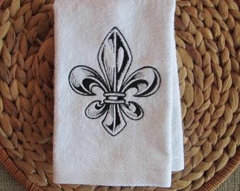 Engraved Fleur de Lis - Fingertip Velour Bathroom Towel - JD Designs