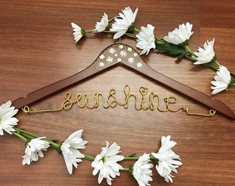 Daisies and Dots   Custom Wedding Wire Hanger   Personalized Wedding Dress Hanger   Bridal Hanger