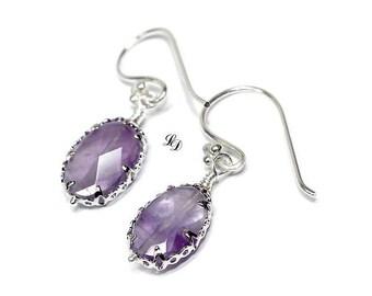 Womans Amethyst earrings, sterling silver, handmade, elegant, boho,  dangle earrings, purple, dangle, gift for her, free shipping