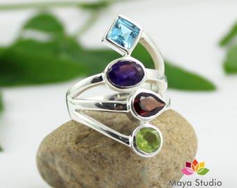 multi gemstone ring, swiss blue topaz ring, amethyst ring, peridot ring, garnet ring, four gemstone silver, healing gemstone ring,ETR1088