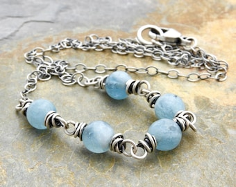 Aquamarine Necklace - March Birthstone Jewelry - Blue Necklace - Light Blue Gemstone - Sterling Silver - Simple Gemstone Necklace #4756
