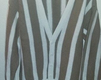 Mens Preppy Striped Ramie Cotton Cardigan Sweater M