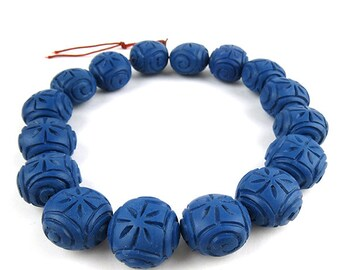 Blue Resin Beads-Large, 1 strand