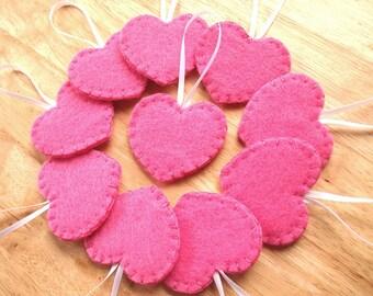10 Fuchsia pink Hochzeit Herz Ornamente, Mädchen-Baby-Dusche begünstigt, hochzeitsdeko, Valentinstag Herz Dekorationen, rosa Filz Herz heiß Filz