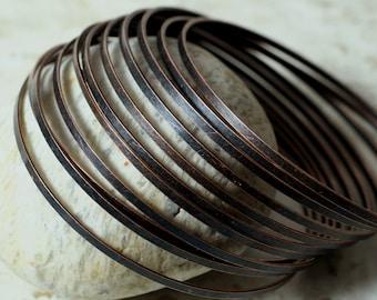 Stacking Bangle, Stackable Bangle, Antique Copper Bangle, Bangle Set, medium to large size, one piece (item ID FA00143AC)
