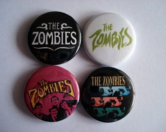 """4 x The Zombies 1"""" Pin Button Badges ( odessey and oracle rock england mod 60s )"""