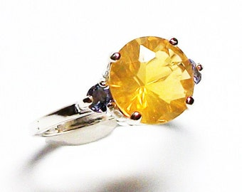 """Fire opal, fire opal ring, fire opal tanzanite, 3 stone ring, yellow blue, anniversary ring, s 6 1/2  """"Sunny side up"""""""
