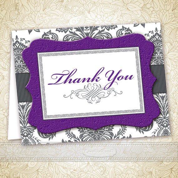 thank you cards, printable thank you cards, instant download thank you cards, editable thank you cards, purple thank you cards, ID128