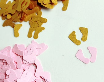 Baby Feet Confetti in Gold and Blush Pink,  Baby Shower Confetti, Baby Shower Table Scatter, Baby Girl Shower Decoration, Baby Feet Cut Outs