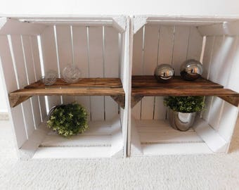 """White wooden crates with intermediate floor (flamed) """"Shabby chic"""""""