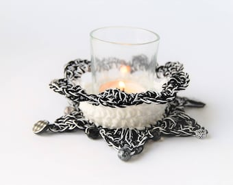 Black and White / plaid / Candle holder / tabletop / votive cup / handmade / small / gift for her / gift for him / gifts / the dusty hovel
