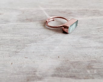Rose Gold Ring with Raw Flourite Stone