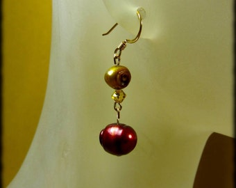 Berry and Gold Freshwater Pearl and Citrine Swarovski Crystal Kirsten Earrings