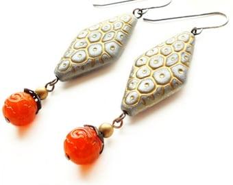 Large Retro Earrings Chunky Vintage Lucite Earrings Orange Grey Textured Bead Earrings Retro Jewelry