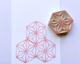 Geometrical  pattern stamp. Rubber stamp. Hand carved stamp. Mounted.