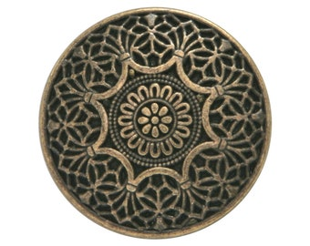 2 Safi 1 inch ( 25 mm ) Metal Buttons Brass Color