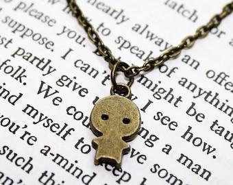 Bronze Tiny Baby Charm Chain Minimalist Necklace