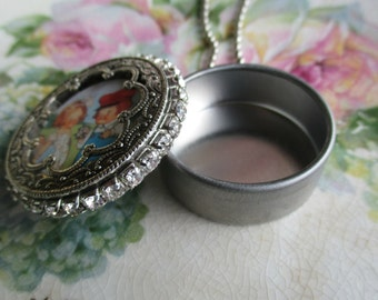 Vintage - Metal Tin  - NOS - Assemblage - Ornate Frame - Babys First Tooth -  Necklace - Keepsake - Steampunk - Watch Tin - Pendant