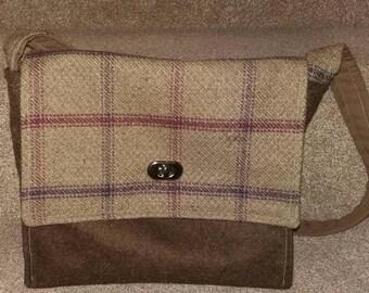 Brown wool messenger style bag
