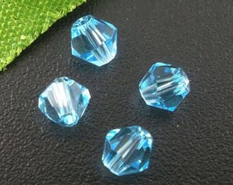 Blue 4 mm faceted bicone glass beads 20