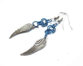 Angel wing earrings, Blue wing jewelry, Blue chainmaille earrings