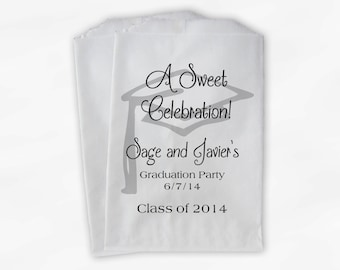 Graduation Favor Bags - 2018 Sweet Celebration Party Custom Favor Bags - Set of 25 Silver and Black Paper Treat Bags (0076)